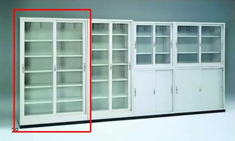 連座玻璃鐵櫃書櫃(有中隔)(4*6)